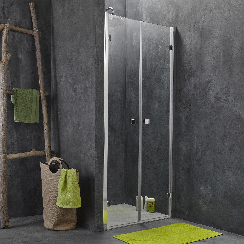 Porte de douche battante 87 5 90 cm profil chrom for Porte interieur largeur 90