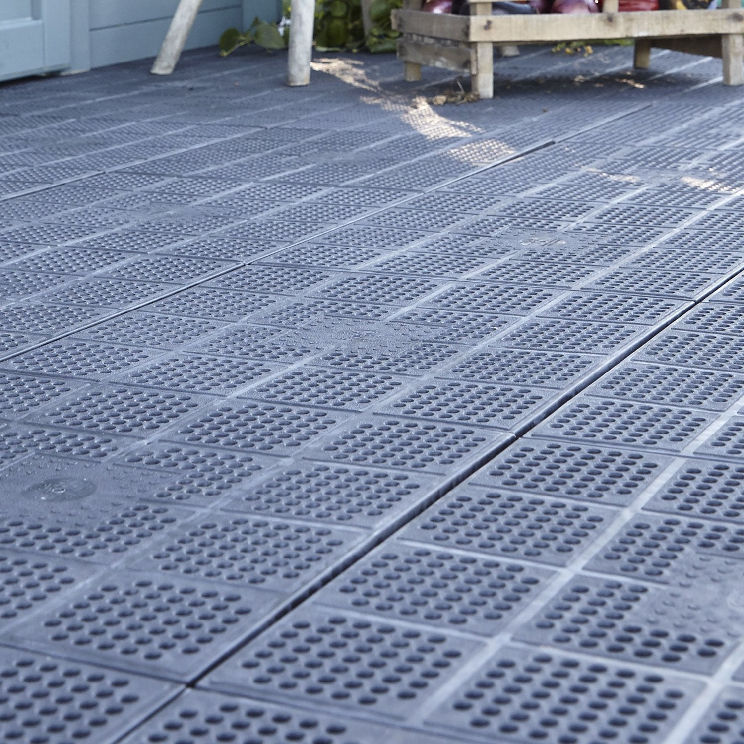 Dalle clipsable polypropyl ne xtiles marron x - Dalle terrasse clipsable ...