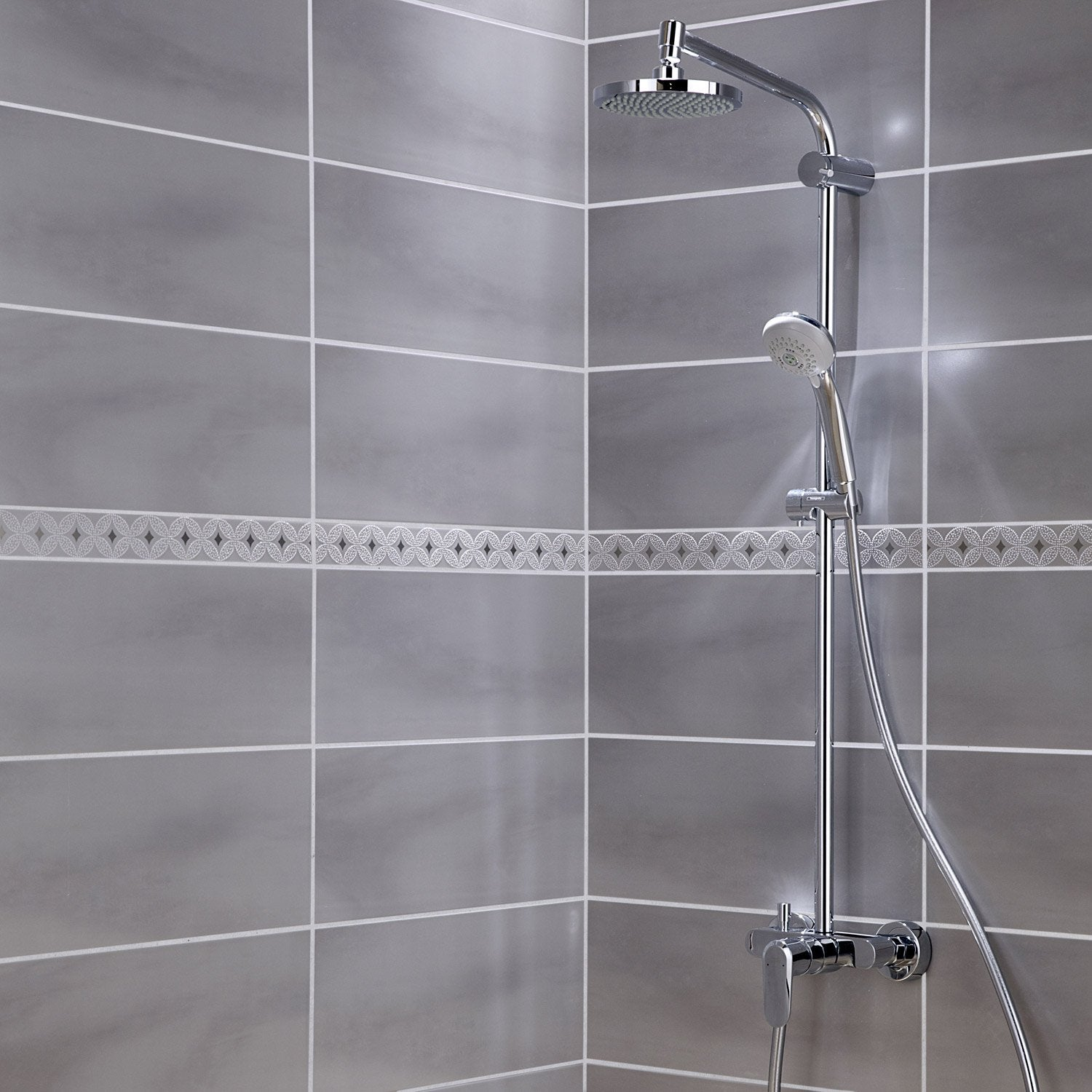Fa ence mur gris perle brooklyn x cm leroy merlin for Photo de salle de bain carrelage gris