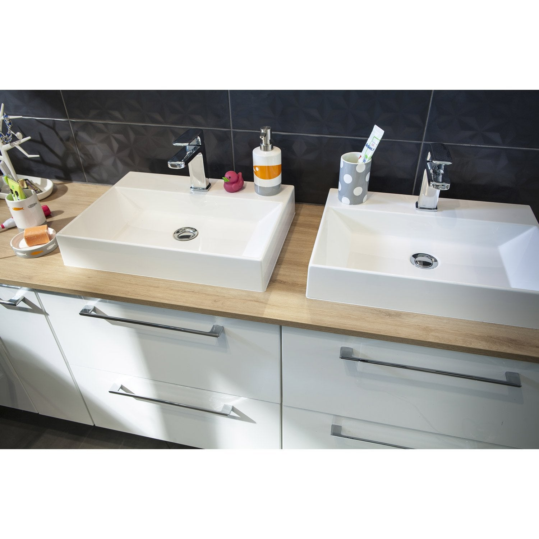 Meuble sous-vasque l.205 x H.57.7 x P.46 cm, blanc, SENSEA Remix ...