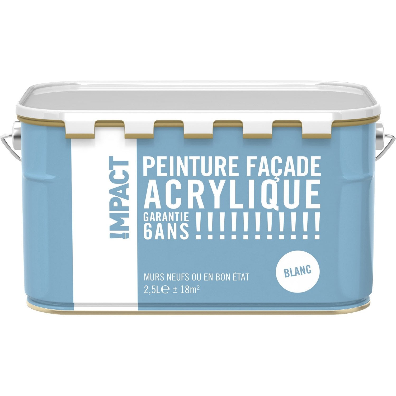 Peinture De Facade Leroy Merlin #13: Peinture Façade Acrylique IMPACT, Blanc, 2.5 L