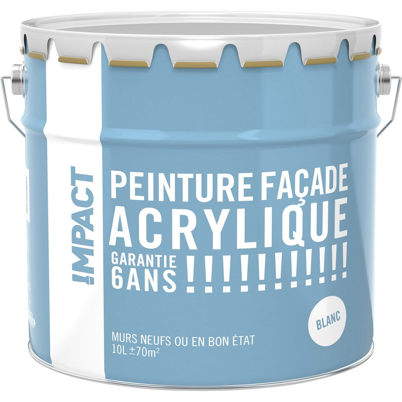 Peinture fa ade acrylique impact blanc 10 l leroy merlin for Peinture acrylique facade exterieure
