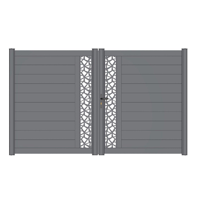 portail battant alu d cor mix it gris anthracite naterial leroy merlin. Black Bedroom Furniture Sets. Home Design Ideas