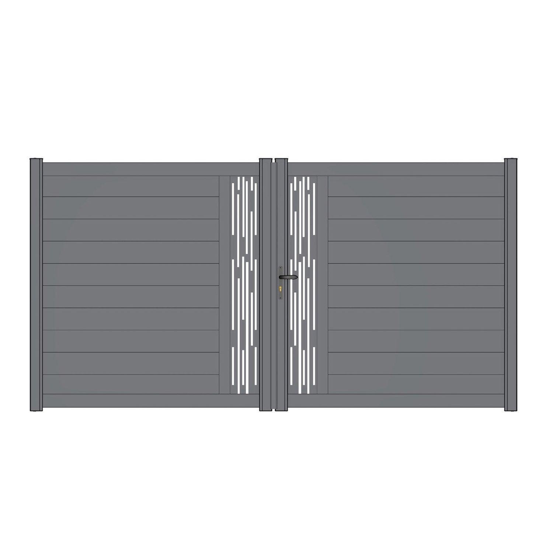 portail battant alu d cor ligne mix it gris anthracite. Black Bedroom Furniture Sets. Home Design Ideas