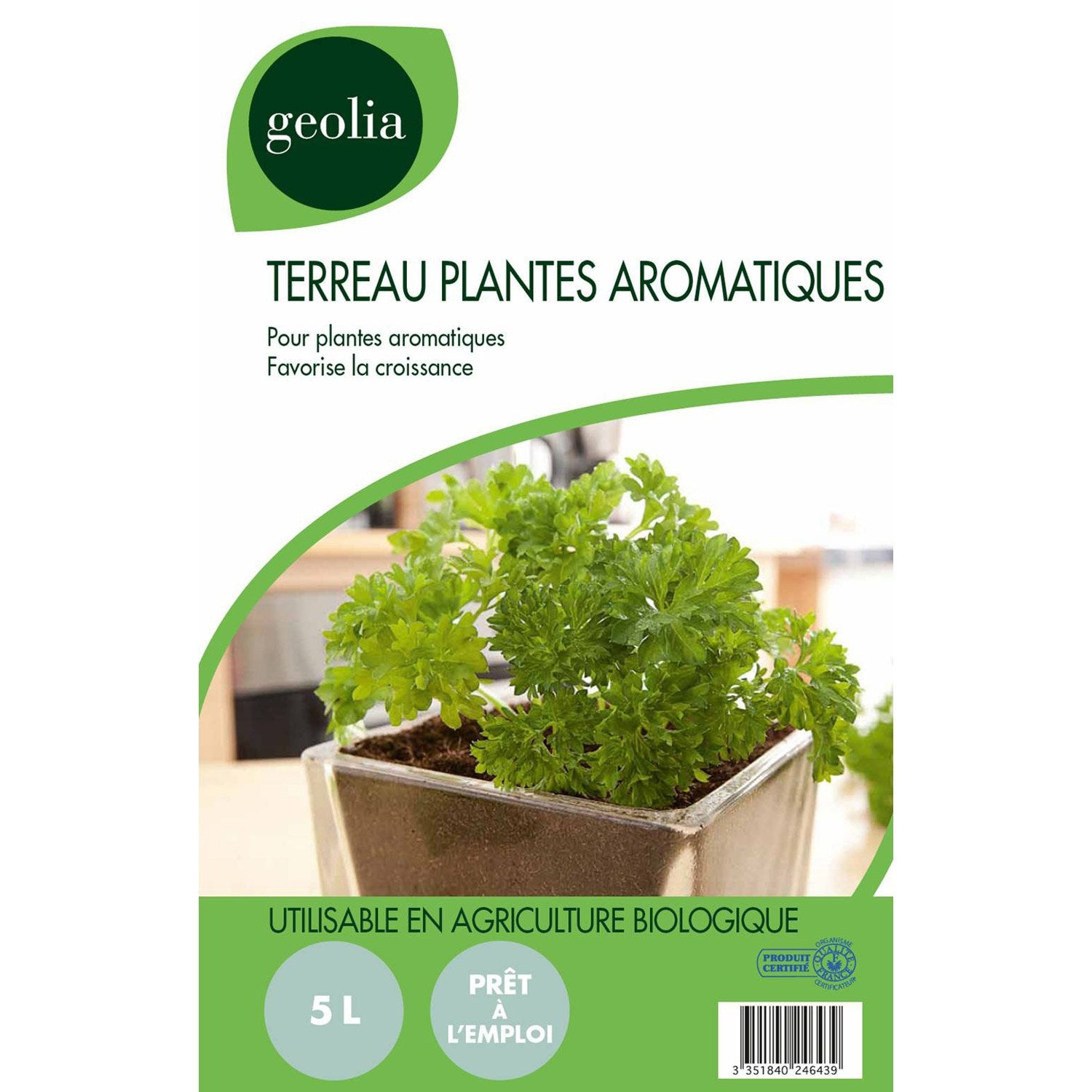 terreau plantes aromatiques geolia 5 l leroy merlin. Black Bedroom Furniture Sets. Home Design Ideas