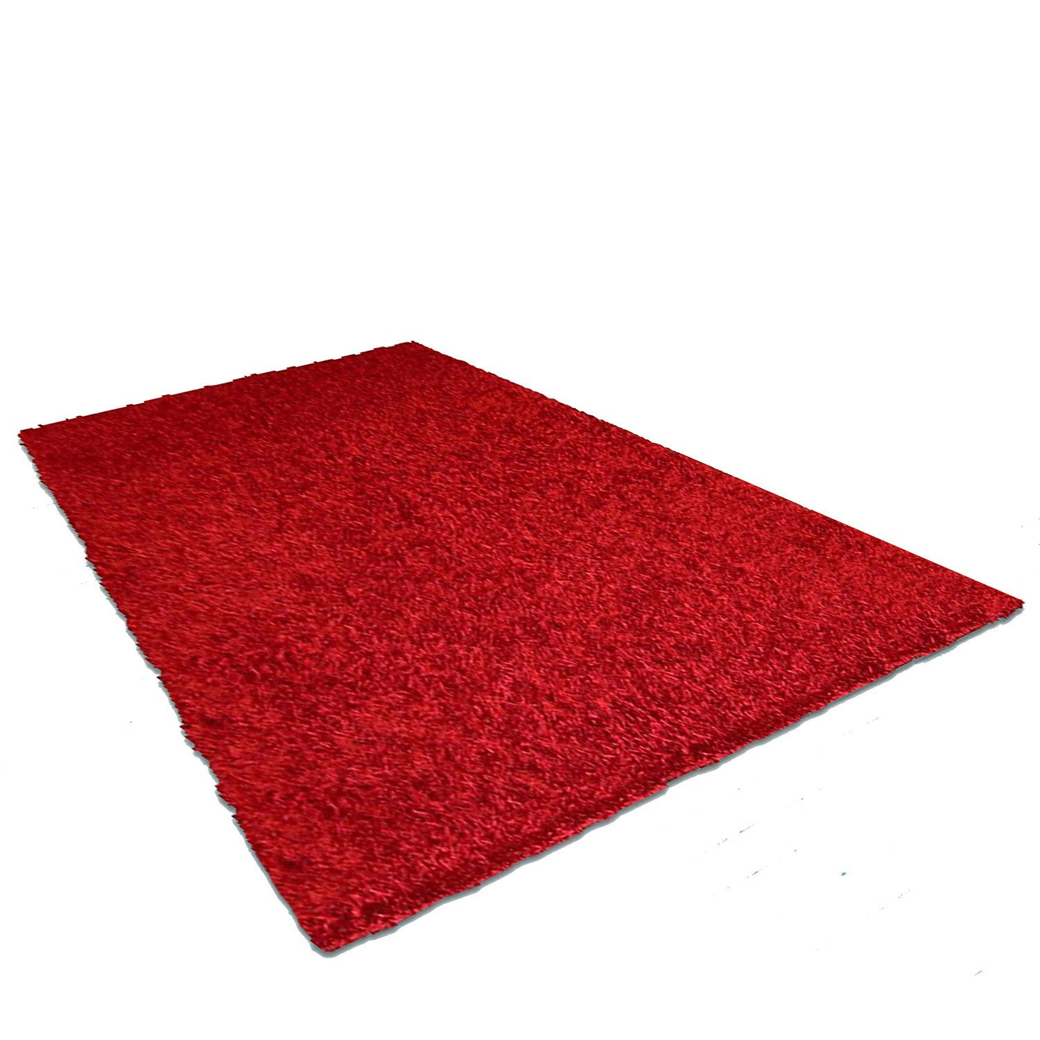 Tapis rouge shaggy lilou x cm leroy merlin for Tapis salon rouge