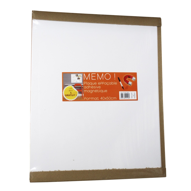 Lot de 6 plaques magn tiques effa ables blanc x - Plaque magnetique leroy merlin ...