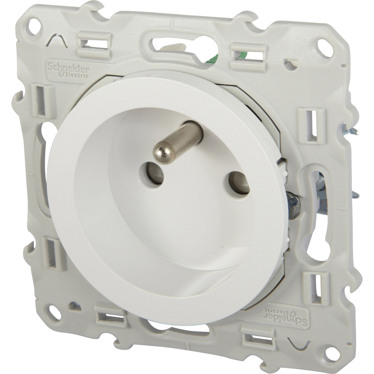 Prise avec terre odace schneider electric blanc leroy merlin - Cache prise leroy merlin ...
