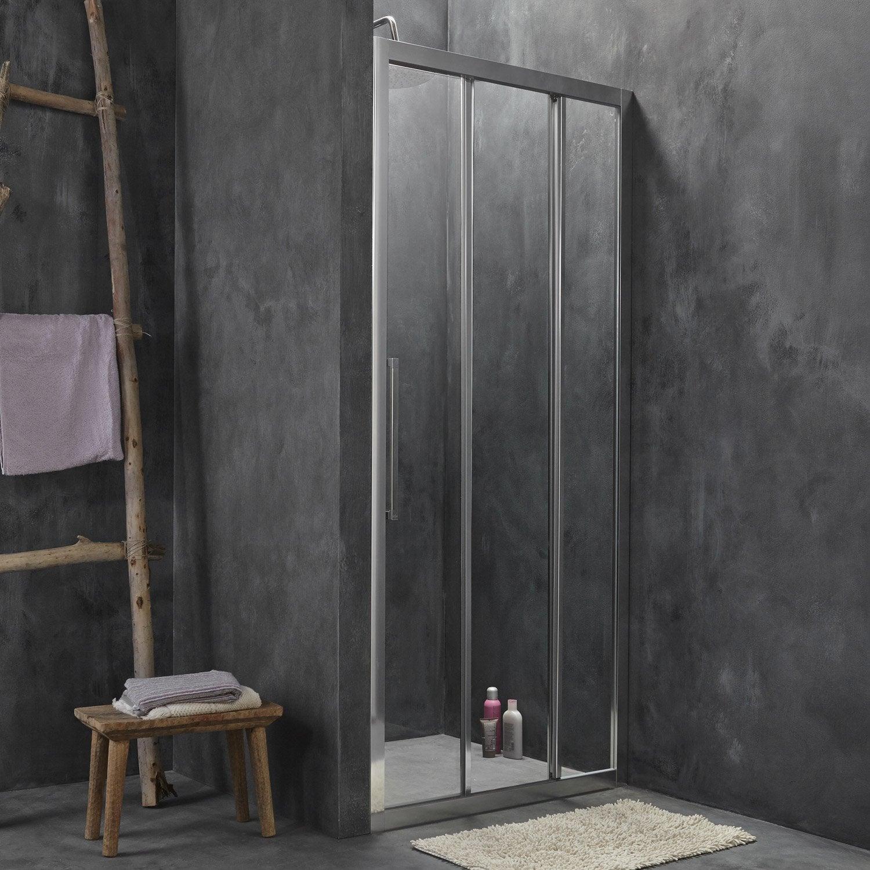 Porte de douche coulissante 87 5 90 5 cm profil chrom - Porte coulissante verre trempe leroy merlin ...