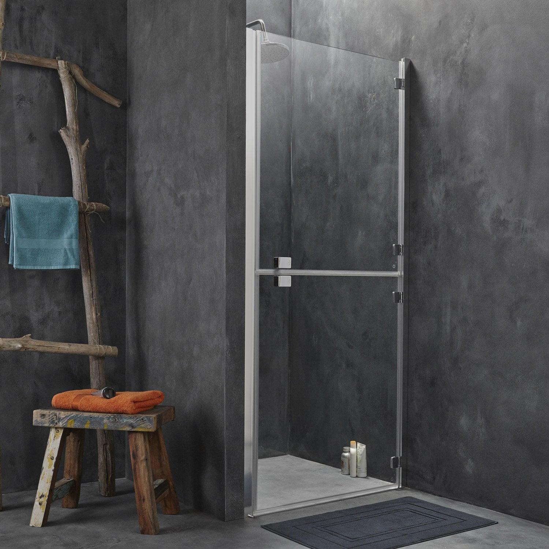 Porte de douche pivotante 88 90 cm profil chrom double premium2 leroy merlin - Porte de douche 90 ...
