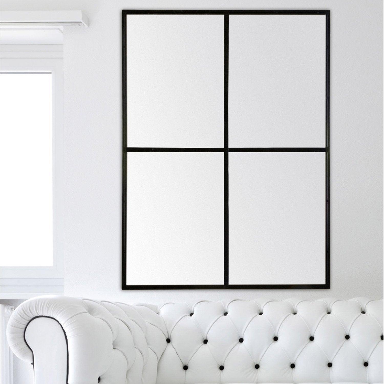 miroir fen tre noir 90x120 cm leroy merlin