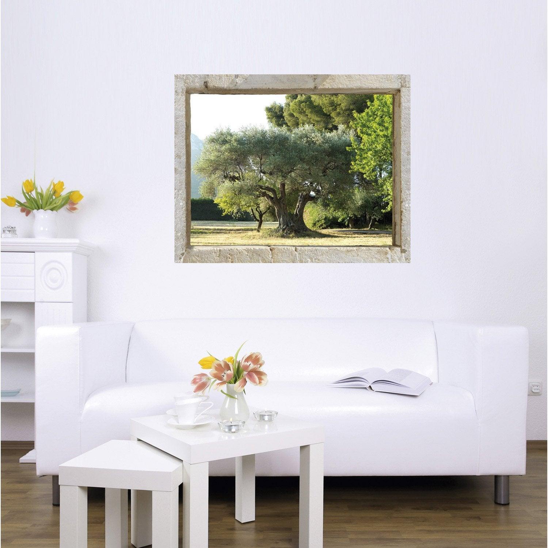 sticker trompe l 39 oeil oliveraie 75 cm x 60 cm leroy merlin. Black Bedroom Furniture Sets. Home Design Ideas