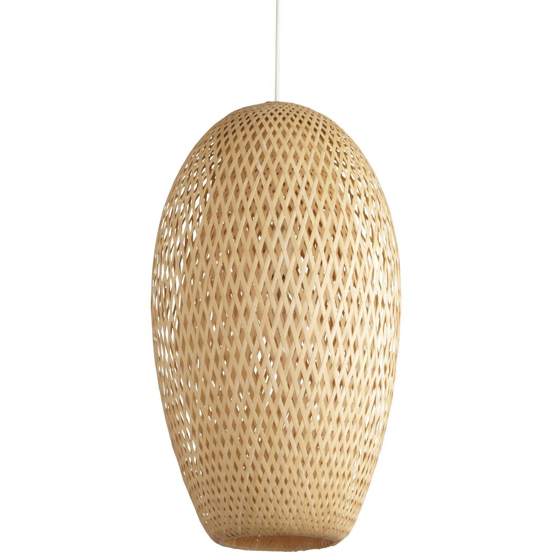 Suspension nature nagai bambou naturel 1 x 60 w inspire leroy merlin - Suspension en bambou ...
