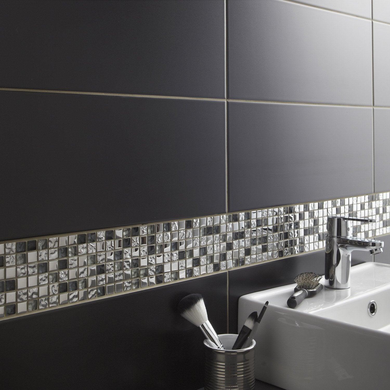 Fa ence mur noir noir n 0 loft x cm leroy for Frise autocollante pour salle de bain