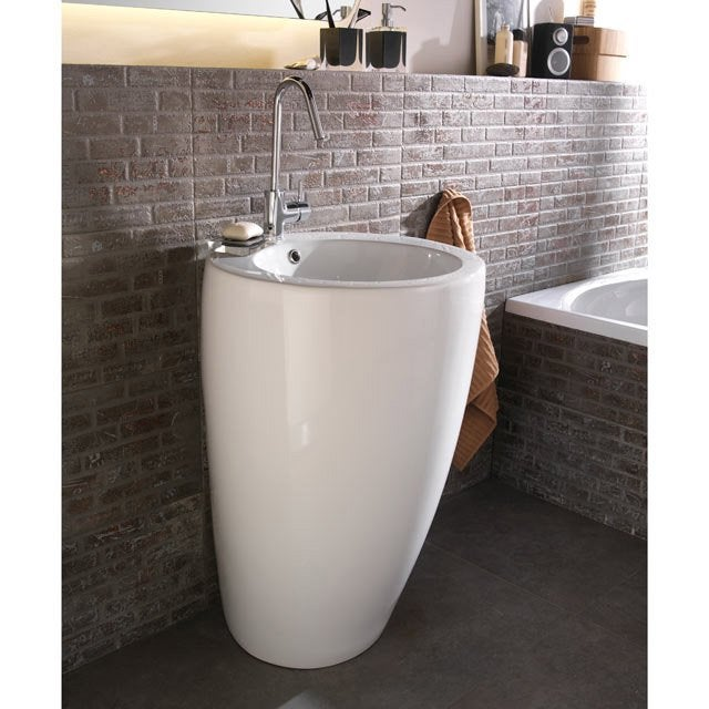 Lavabo colonne en c ramique blanc ic ne leroy merlin for Lavabo porcelaine ou ceramique