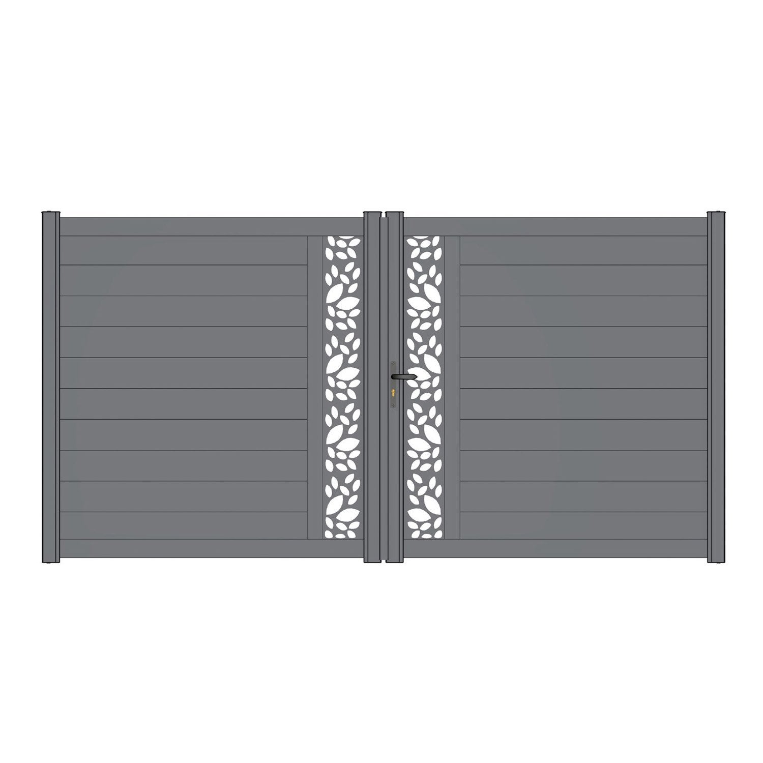 Portail battant aluminium d cor feuille mix it gris naterial cm - Feuille stratifie leroy merlin ...