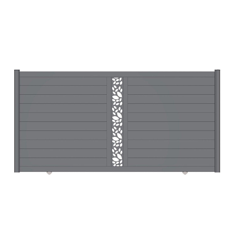 Portail coulissant aluminium d cor feuille mix it gris naterial - Feuille stratifie leroy merlin ...