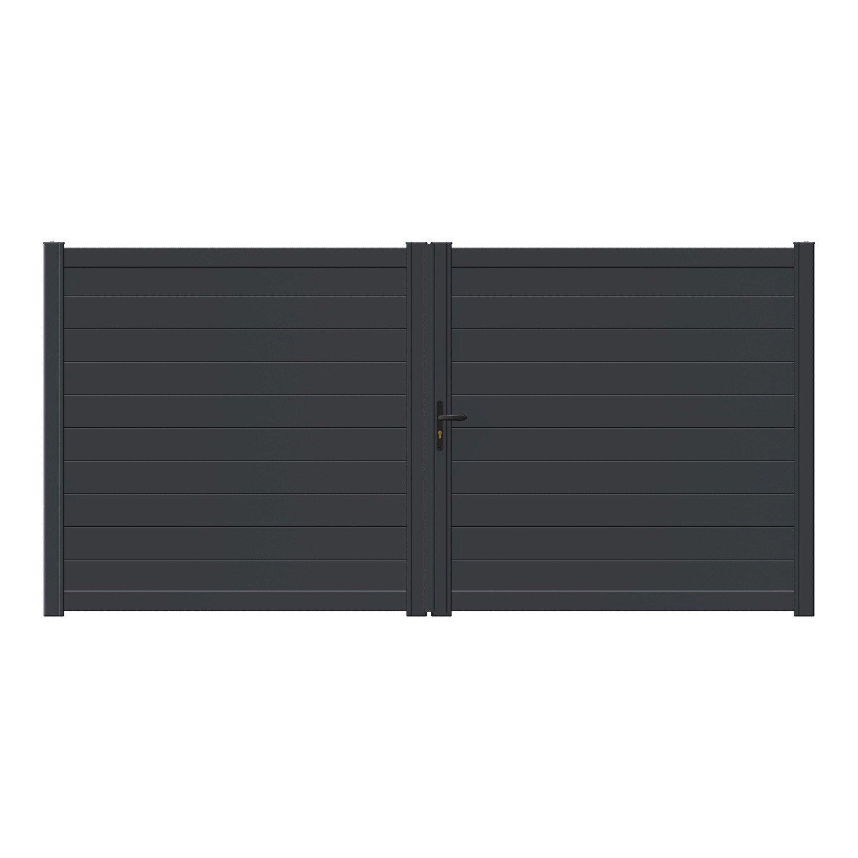 portail battant motoris aluminium lao gris naterial l. Black Bedroom Furniture Sets. Home Design Ideas