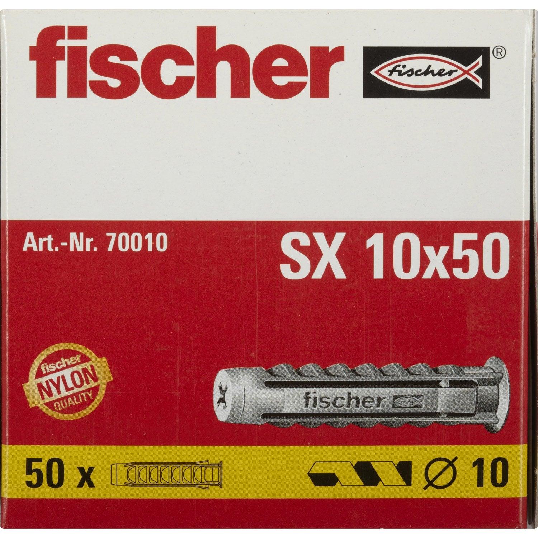 50 chevilles a expansion fischer 10x50mm pour materiaux - Cheville pour parpaing creux brico depot ...