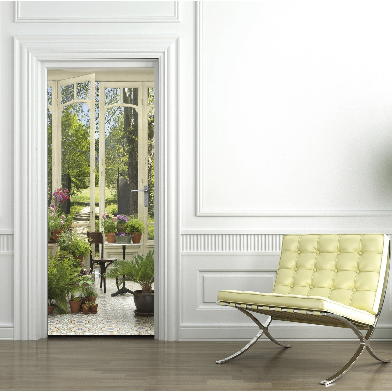 sticker porte jardin d 39 hiver 83 cm x 204 cm leroy merlin. Black Bedroom Furniture Sets. Home Design Ideas