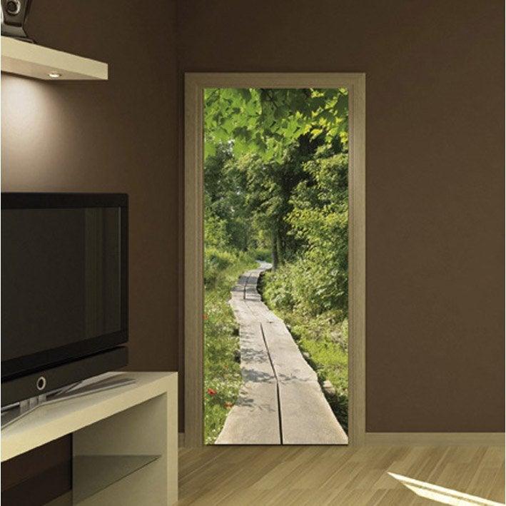 sticker porte chemin dans l 39 herbe 83 cm x 204 cm leroy merlin. Black Bedroom Furniture Sets. Home Design Ideas