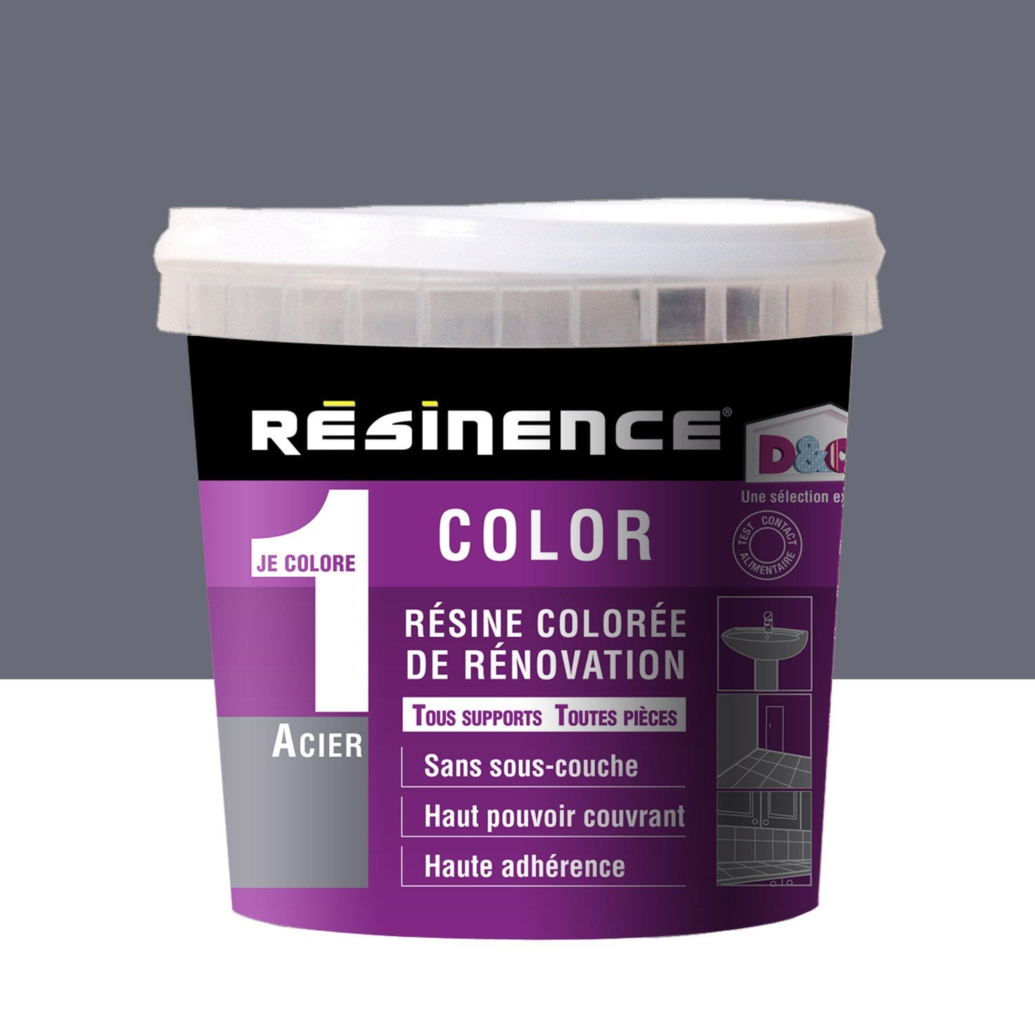 R sine color e color resinence gris acier m tallis for Peinture resinence
