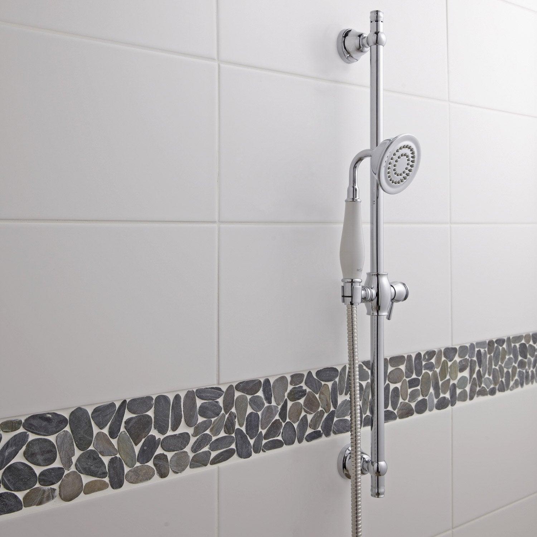 Fa ence mur blanc blanc n 0 loft satin x cm for Joint faience salle de bain