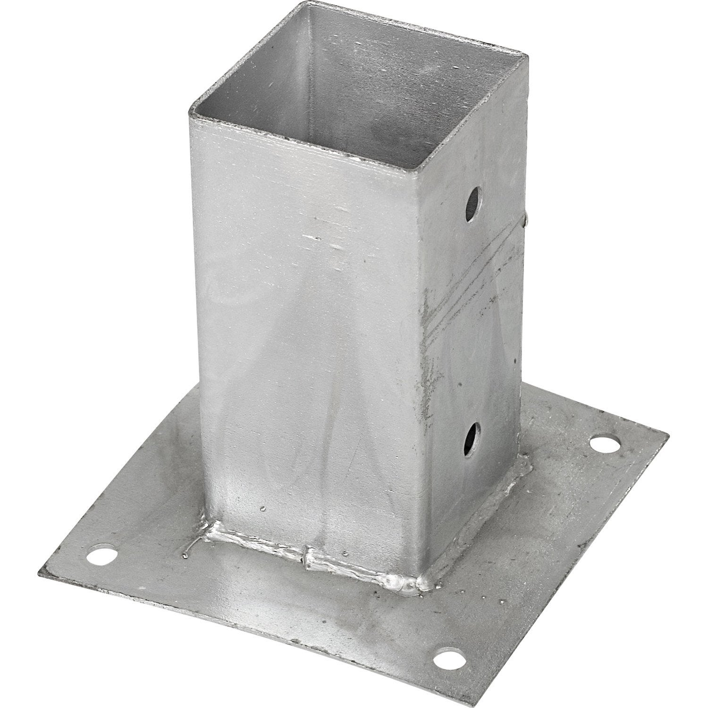 Support à fixer acier à fixer gris, H10 x l7 x P7 cm  Leroy