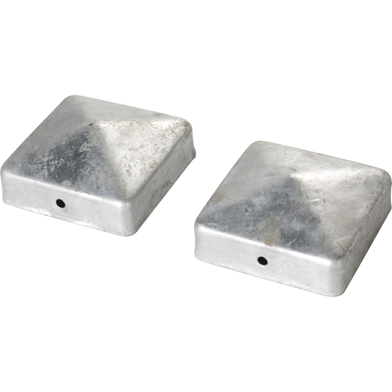 Chapeaux acier inoxydable pyramide gris h 5 x l 9 x p 9 for Carrelage 70x70 gris