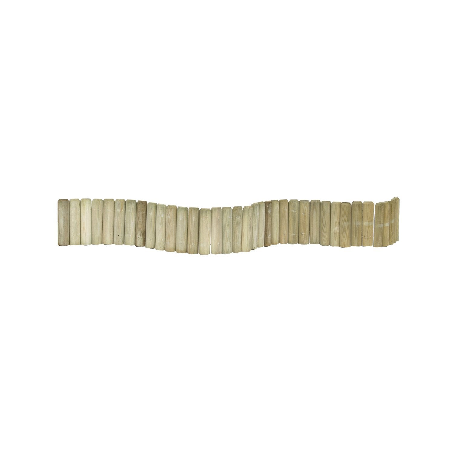 Bordure planter 1 2 rondin bois naturel x cm for Bordure en bois de jardin