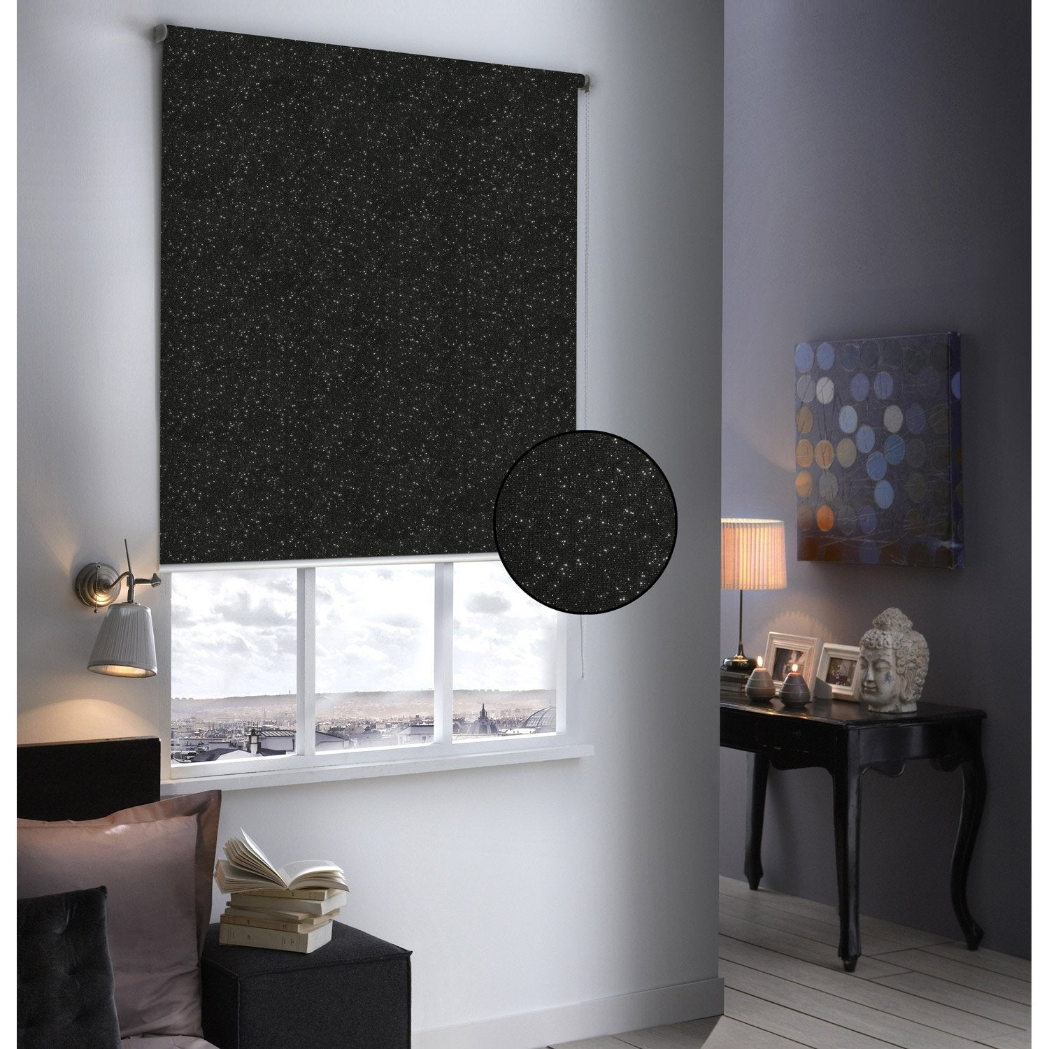 store enrouleur occultant paillettes noir paillet 154x190 cm leroy merlin. Black Bedroom Furniture Sets. Home Design Ideas