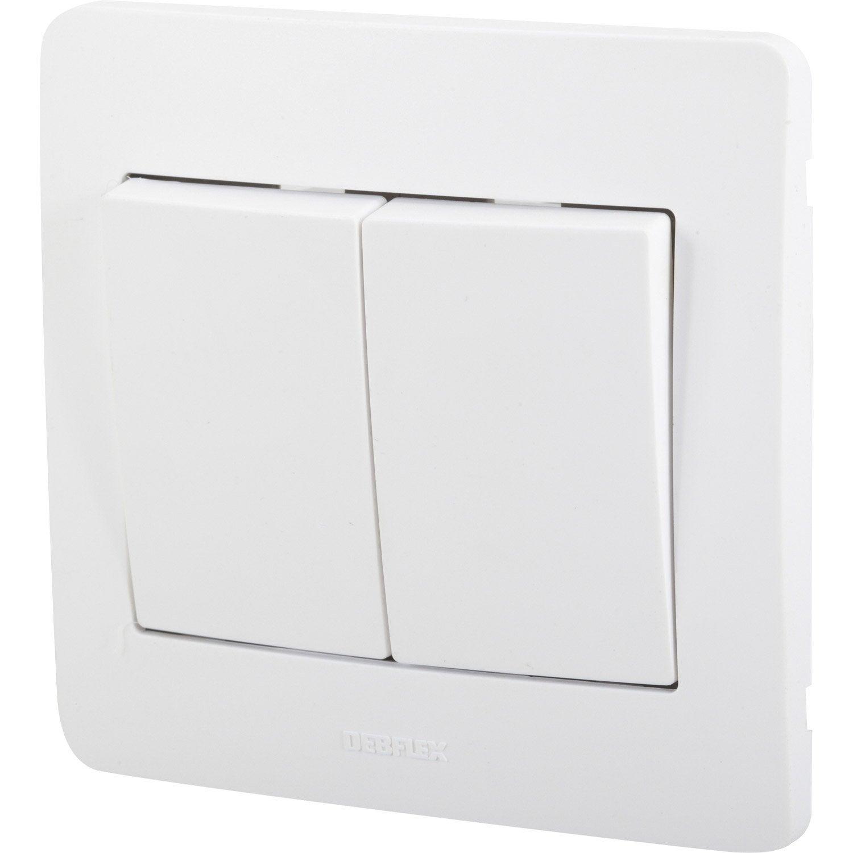double interrupteur va et vient diam2 debflex blanc. Black Bedroom Furniture Sets. Home Design Ideas
