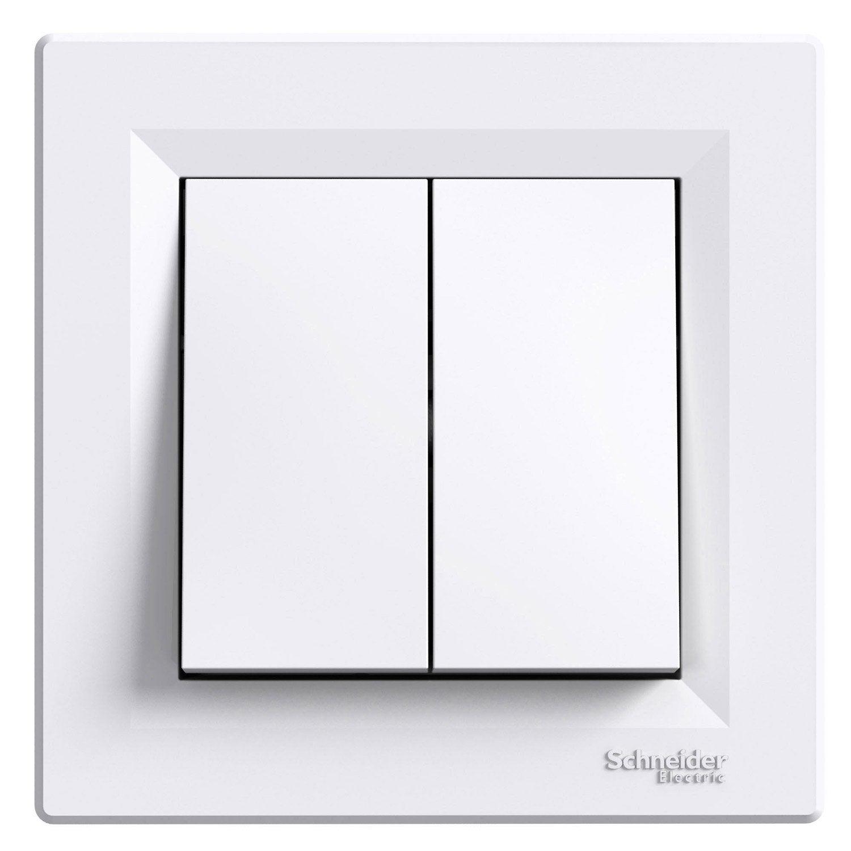Double interrupteur va et vient asfora schneider electric blanc leroy merlin - Brancher un interrupteur double va et vient ...