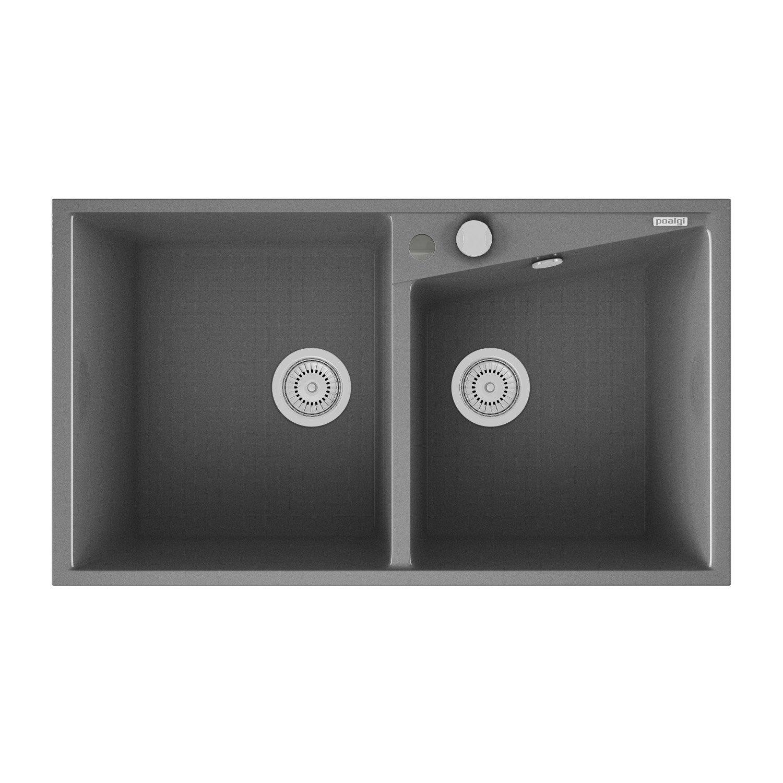 evier encastrer quartz et r sine gris m tallis kuma 2 bacs leroy merlin. Black Bedroom Furniture Sets. Home Design Ideas