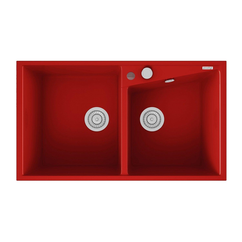 Evier encastrer quartz et r sine rouge kuma 2 bacs for Evier resine 2 bacs