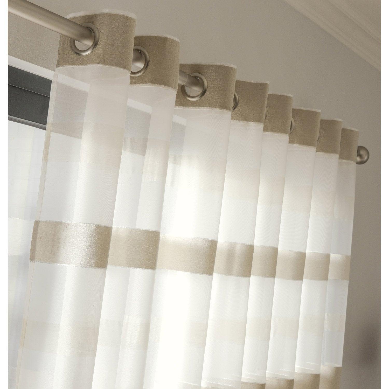 voilage grande largeur edimbourg ivoire x cm. Black Bedroom Furniture Sets. Home Design Ideas