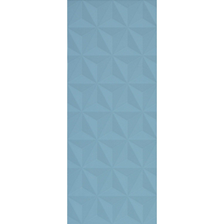 Faïence mur bleu baltique n°3 décor loft facette l 20 x L