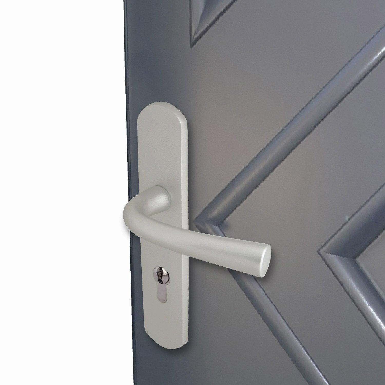 Poign e de porte orph e trou de cylindre aluminium bross - Poignee de porte avec cylindre ...
