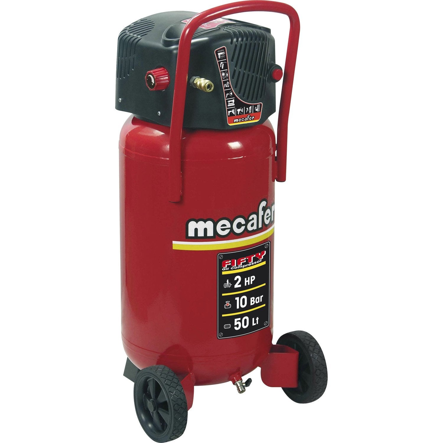 Compresseur vertical de loisirs mecafer fifty 50l 2cv leroy merlin - Compresseur d air leroy merlin ...