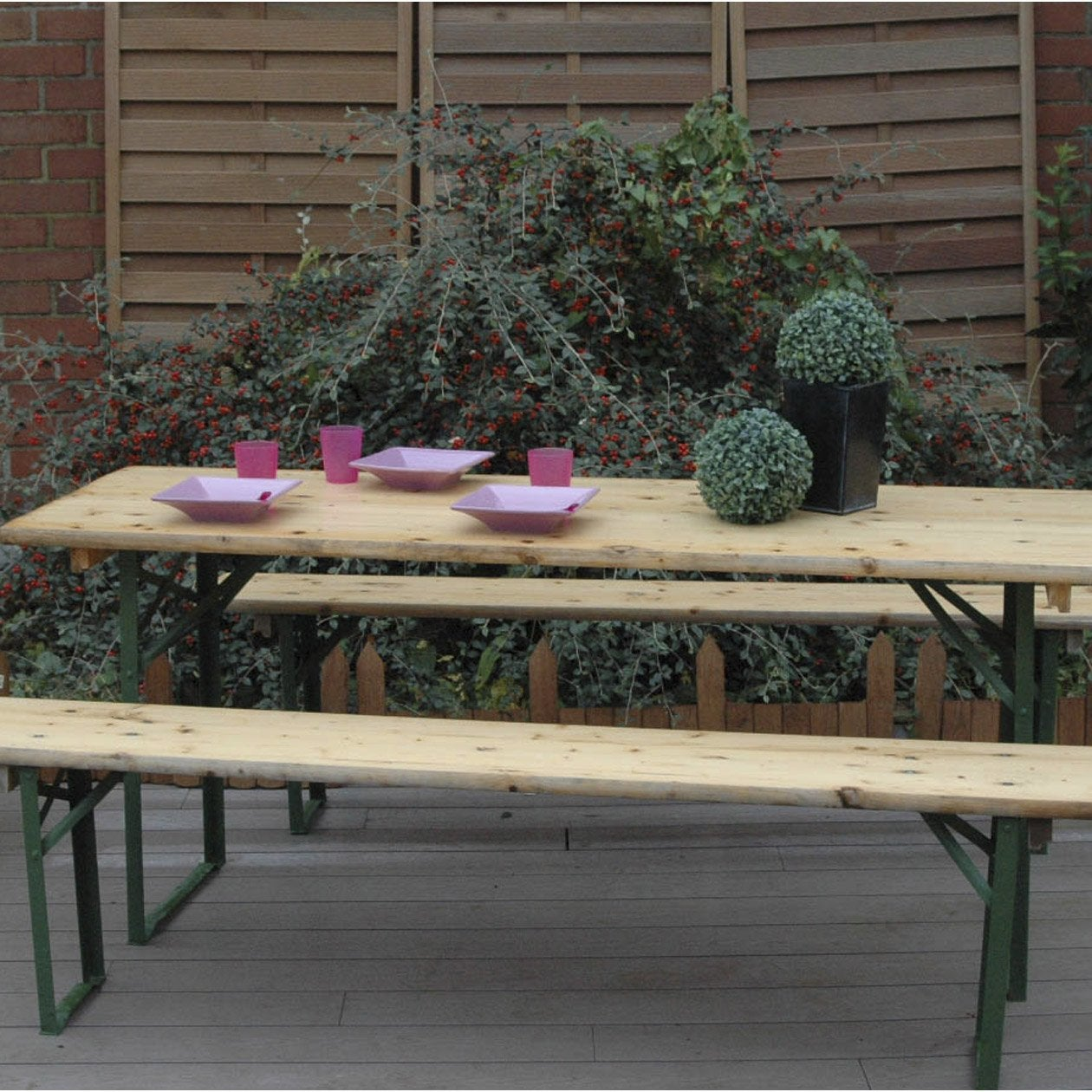 Salon de jardin bavi re bois naturel 1 table 2 bancs - Leroy merlin table pliante ...