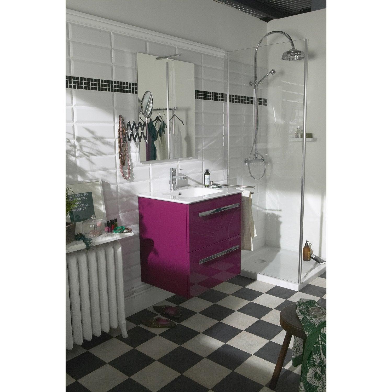 Meuble sous vasque x x cm violet neo for Meuble sous vasque bois 60 cm