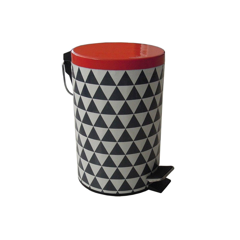 poubelle de salle de bains 3 l rouge rouge n 4 sensea arlequin leroy merlin. Black Bedroom Furniture Sets. Home Design Ideas