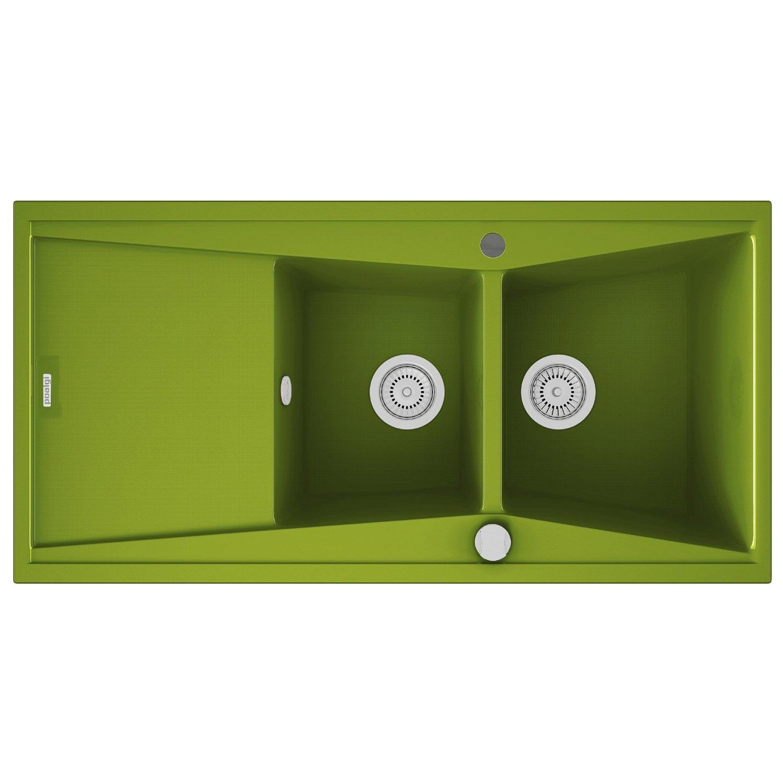 Evier encastrer quartz et r sine vert kuma 2 bacs avec for Evier resine 2 bacs