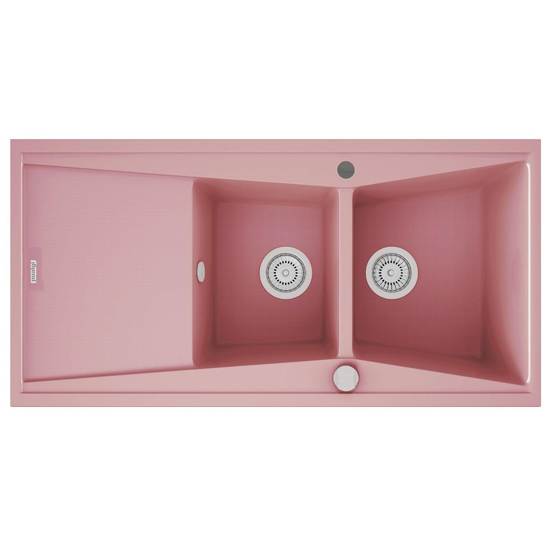 evier encastrer quartz et r sine rose kuma 2 bacs avec gouttoir leroy merlin. Black Bedroom Furniture Sets. Home Design Ideas