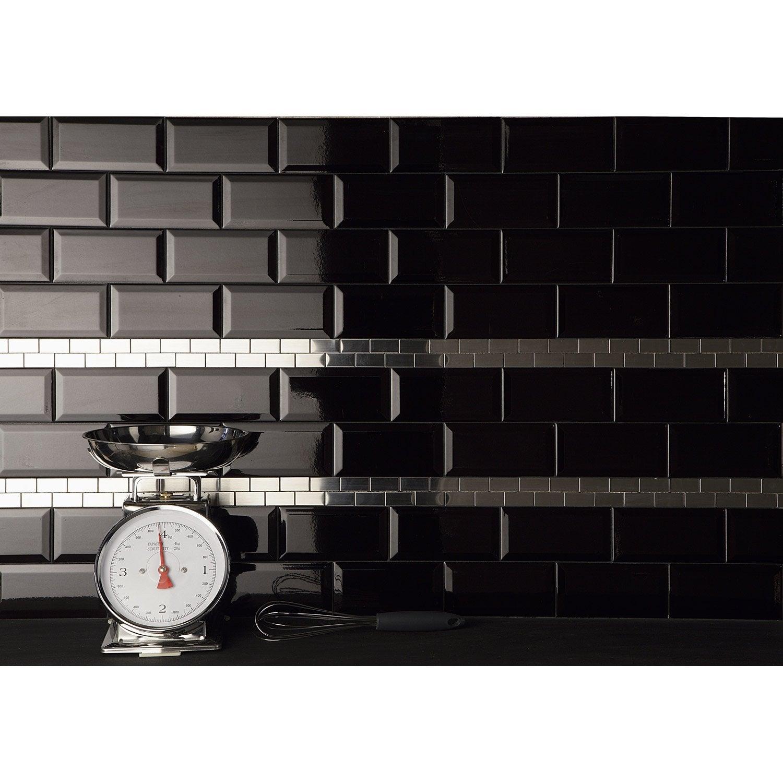 Fa ence mur noir m tro l 7 5 x cm leroy merlin for Carrelage mural noir brillant