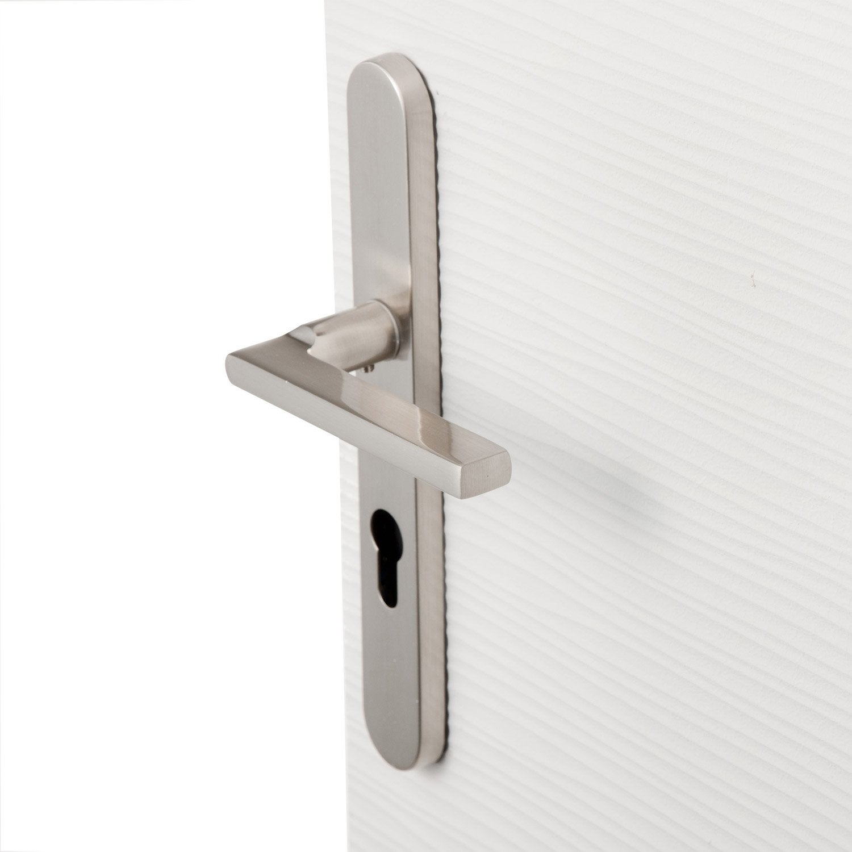 poign e de porte lee trou de cylindre zinc nickel 195. Black Bedroom Furniture Sets. Home Design Ideas