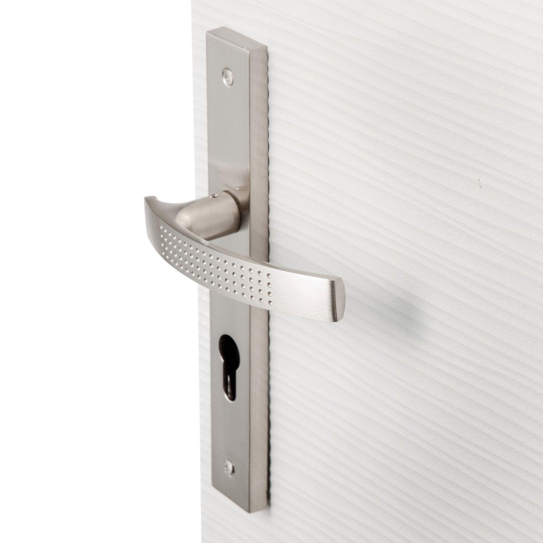 poign e de porte louna trou de cylindre zinc nickel 195 mm leroy merlin. Black Bedroom Furniture Sets. Home Design Ideas