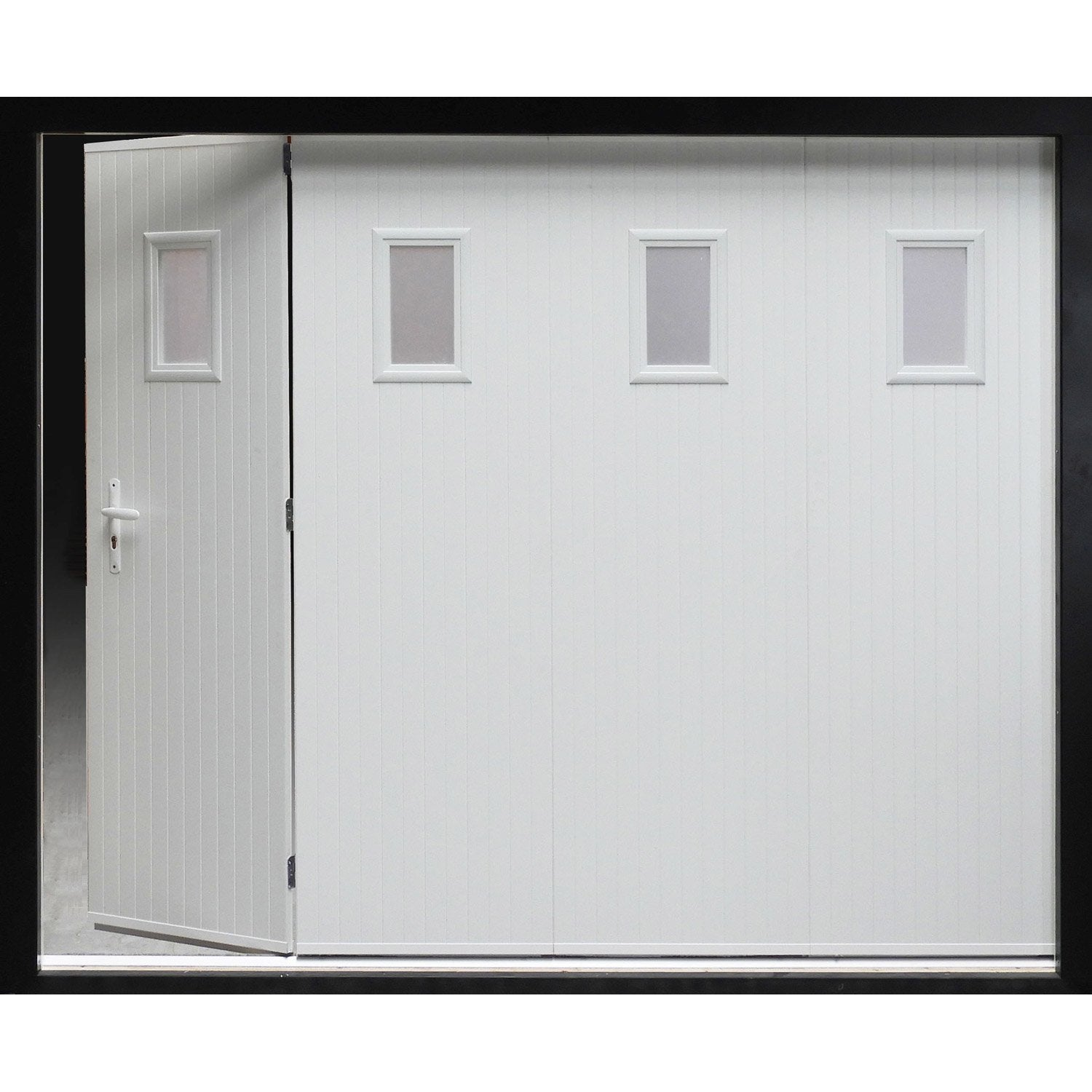 Porte de garage coulissante manuelle artens h200 x l240 for Porte de garage enroulable de plus porte coulissante