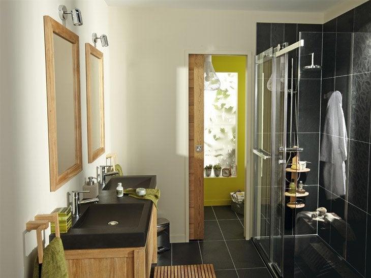 Salle de bain travertin leroy merlin avec for Armoire douche