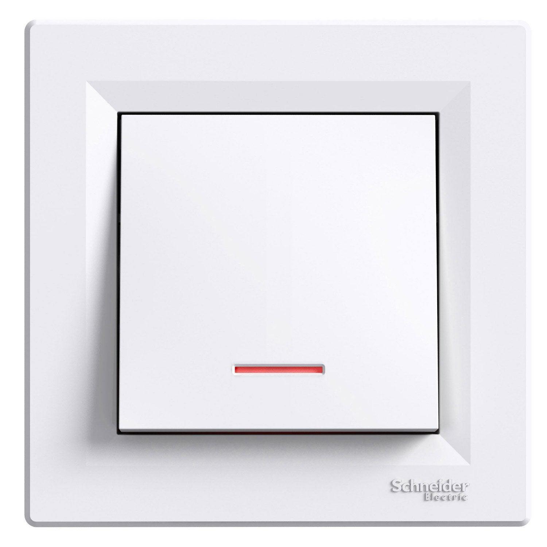 Interrupteur va et vient voyant lumineux asfora schneider electric blanc leroy merlin - Interrupteur avec voyant lumineux leroy merlin ...